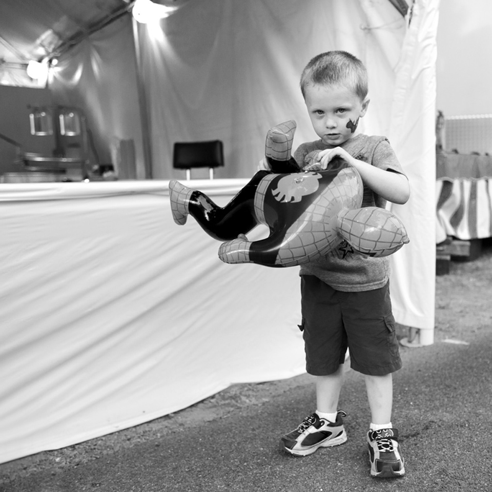 Boy with Spiderman Inflatable | 2014 Columbia County Fair