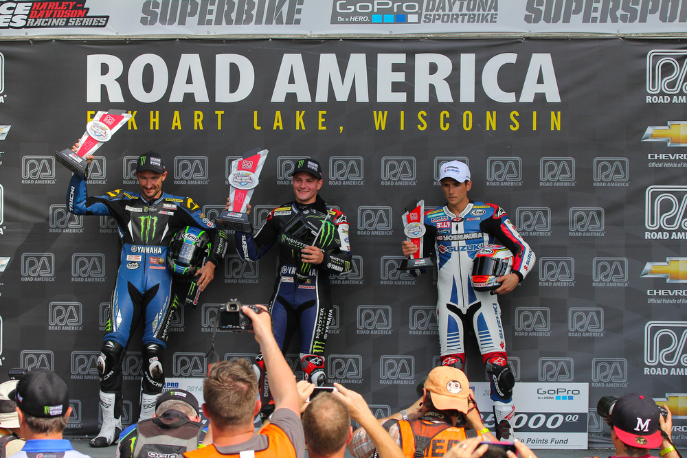 First place #2 Cameron Beaubier, 2nd #4 Josh Hayes and 3rd #36 Martin Cerdenas