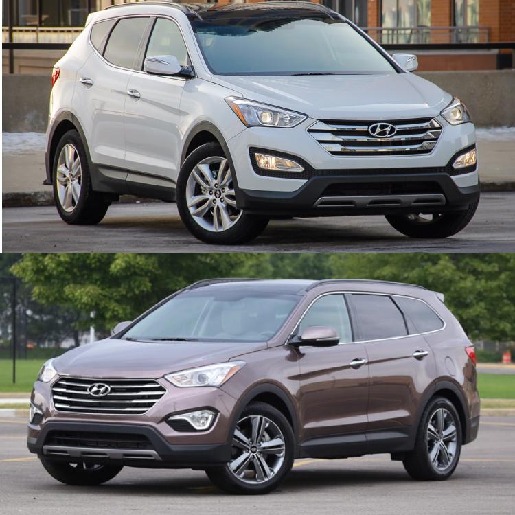 2015 Hyundai Santa FE Sport AWD 2.0L Turbo (Top) - 2015 Hyundai Santa Fe V6 AWD (Bottom)