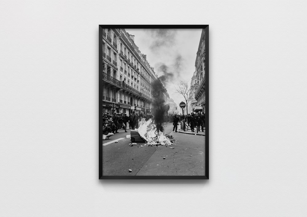 GARBAGE FIRE MEDIA ATTENTION  Paris, France 2018  50 x 70 Archival Print