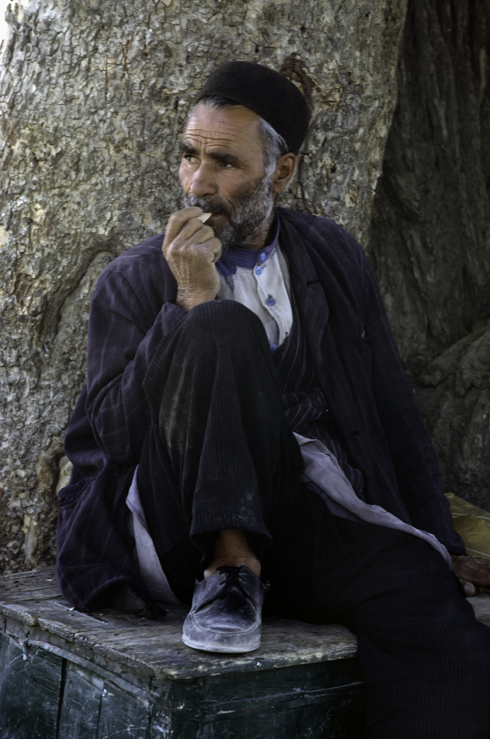 Man Sitting on Box, Iran 1967