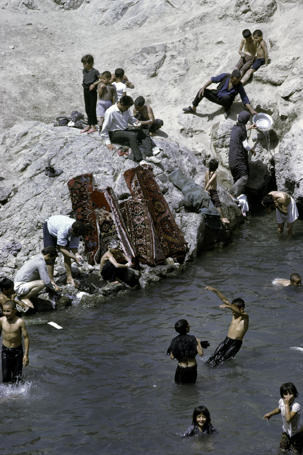 Families at Bathing Spot,  Iran 1967