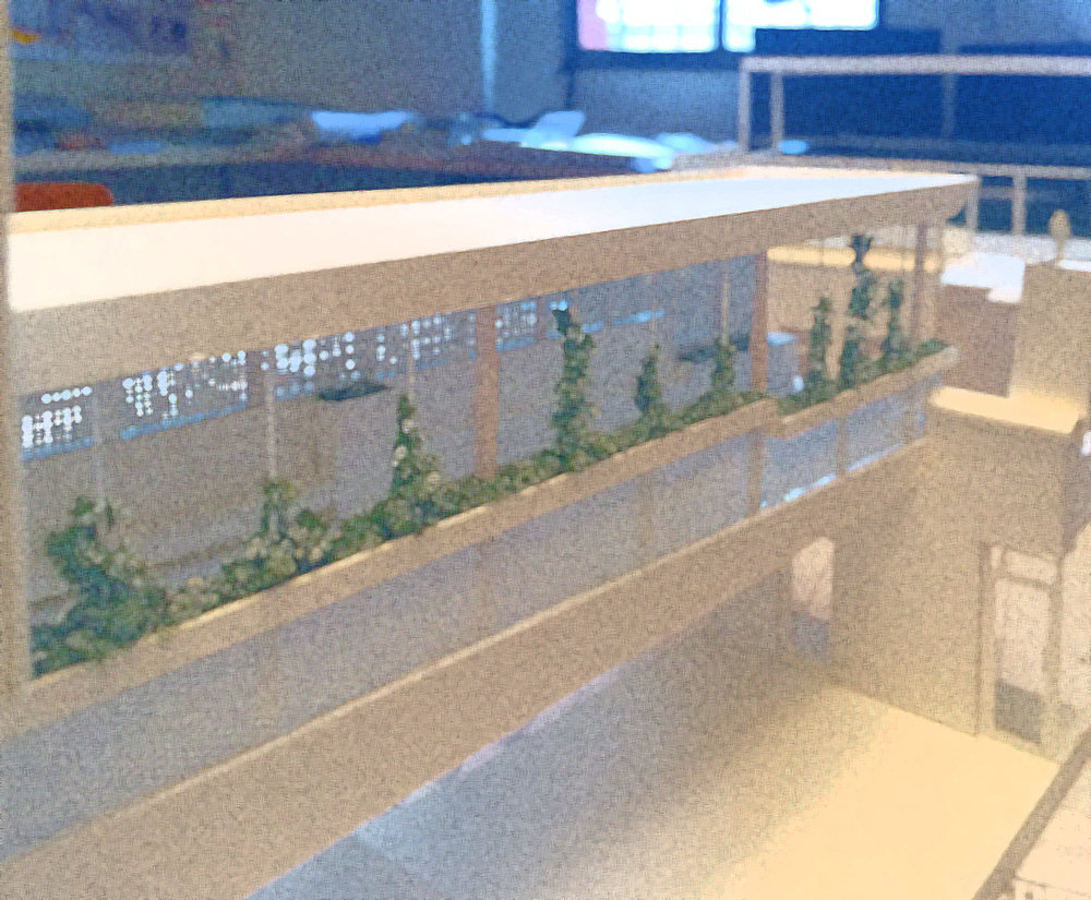 Twelve Gardens Ltd. is working with Pell Overton Architecture on the roof garden for Brooklyn Heights Montessori School. Model of bridge connecting 2 rooftop garden / recreation areas (Pell Overton).