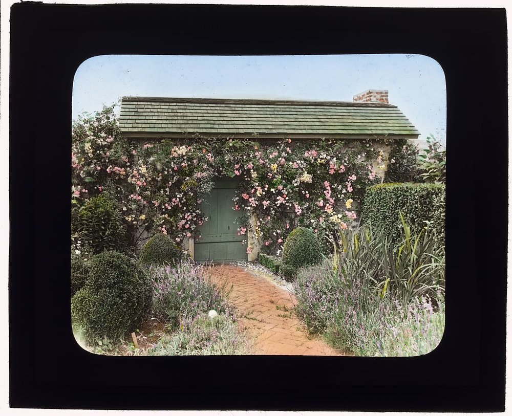 "Photography by Frances Benjamin Johnston of""The Dunes,"" Frank Bestow Wiborg house, Highway Behind the Pond, East Hampton, New York. Garden house door. 1915. Library of Congress.   ppmsca 16208  http://hdl.loc.gov/loc.pnp/ppmsca.16208"