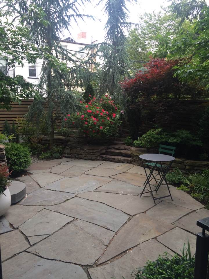 "New stone terrace, stairs & gravel ""secret"" garden seating area in Brooklyn backyard garden"