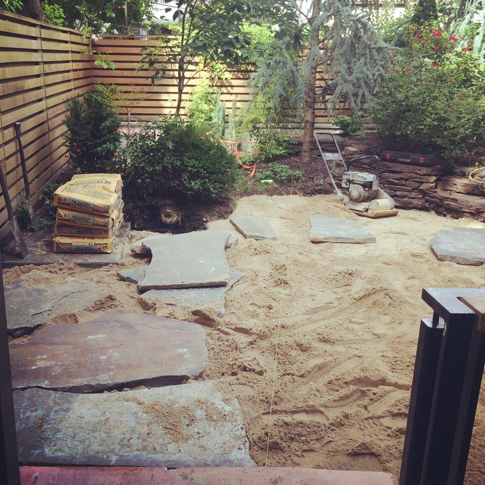 Brooklyn backyard, construction underway / before