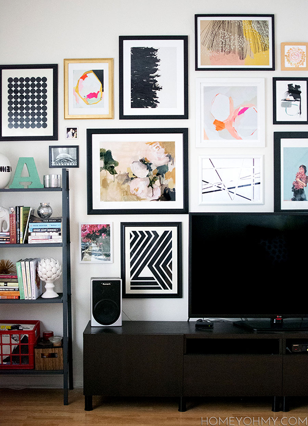 Navy Geo looks great nestled among other beautiful prints in Homey Oh My's living room. Read more about how she assembled this terrific gallery wall here: http://bit.ly/1y27Z1l