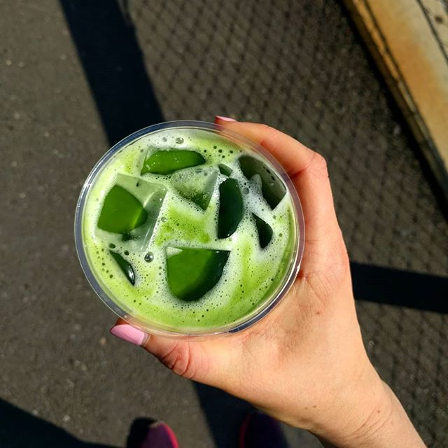 Nothing better than a post workout matcha. Made with fresh NotMilk, obvi 💃😂 #humpdaymatcha #NotMilknyc #freshNotMilk #matcha #freshnutmilk #postworkout #nycfood #vegan #lightlysweetened #blanchedalmond