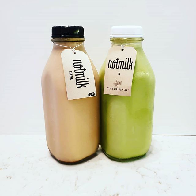 Which do you prefer as your morning pick me up - Coffee or Matcha NotMilk?  #NotMilknyc #freshNotMilk #coffeeormatcha #vegan #nycfood #realfood #nofillers #freshnutmilk #summertime #morning
