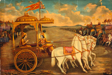 Lord Krisna advising Arjuna on the battlefield. A scene from the Bhagavad Gita, one of the most famous and beloved books of the great Indian epic, the Mahabharata.