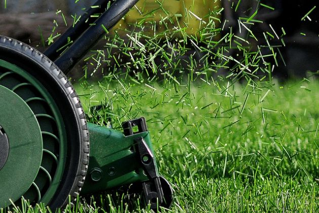 Raise mower blade and let clippings fall.