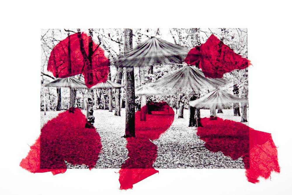 Dancing Umbrellas chine-collé (red)