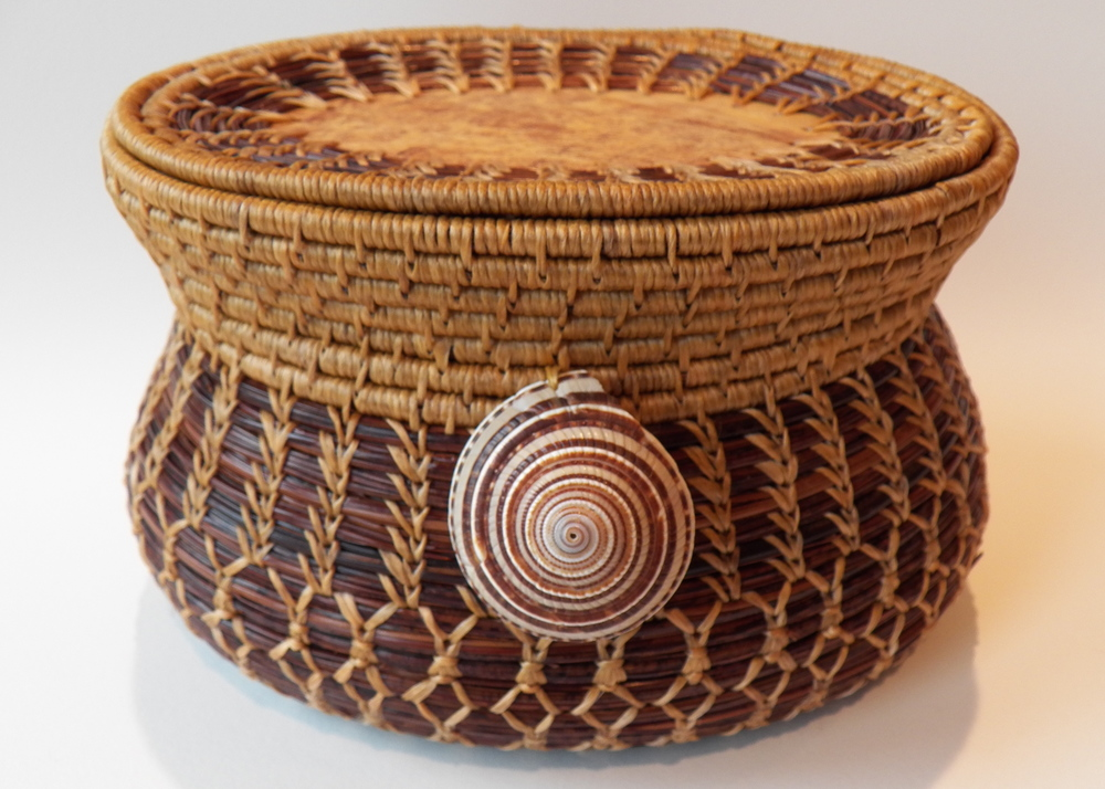 Sundial Shell Basket with Lid