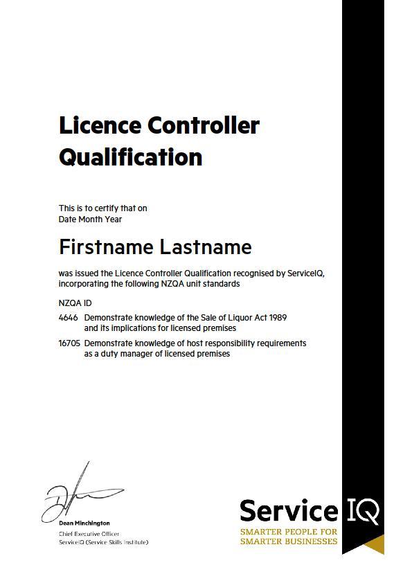 LCQ certificate