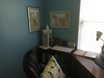 Meg's home office, with her prized fantasy maps on the wall.  Photo credit: Meg Bodemer, 2017.