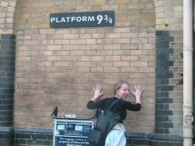 My pilgrimage to Platform 9 3/4 in 2007. Sadly, I got stuck on the Muggle side of the wall.