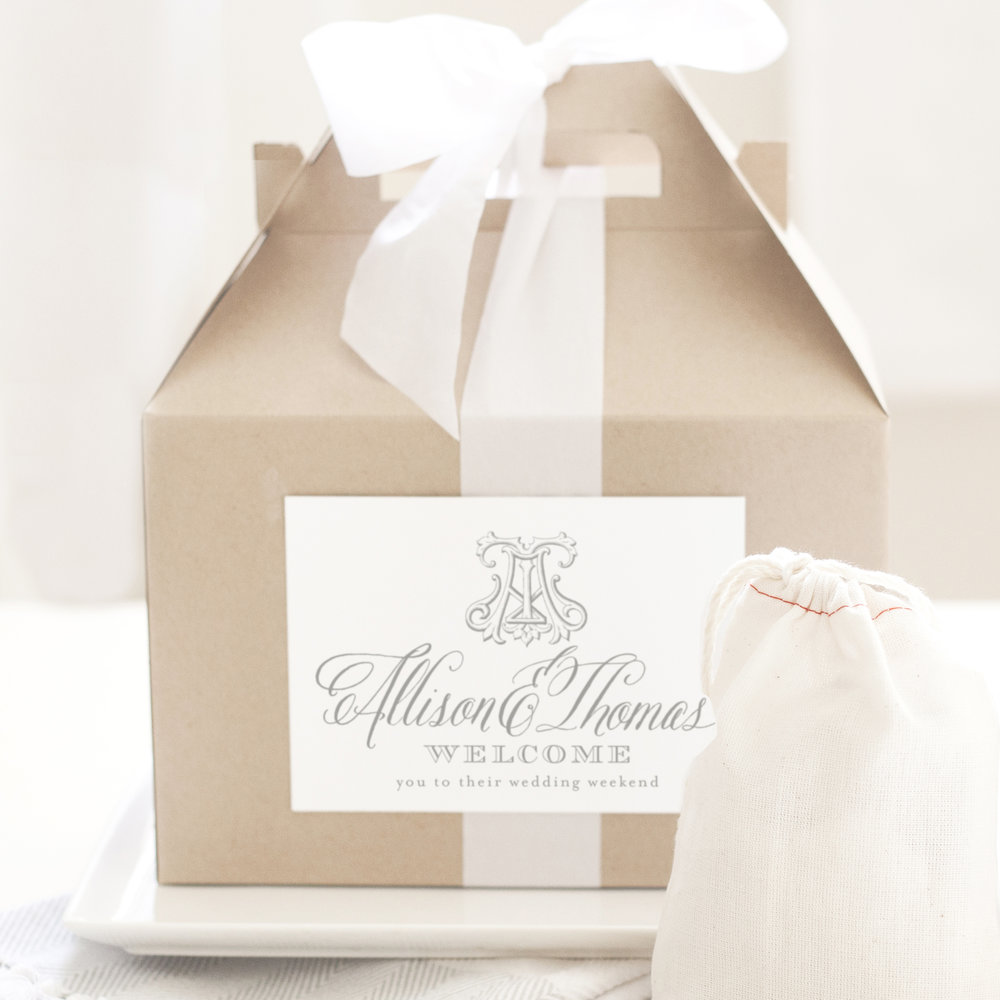 Monogram Welcome Box Labels — Empress Stationery