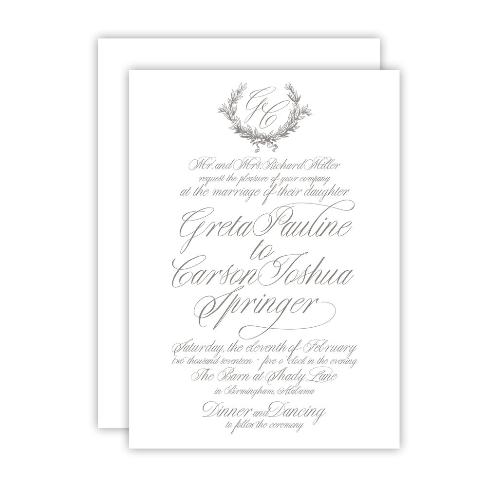greta invitation with envelope empress stationery
