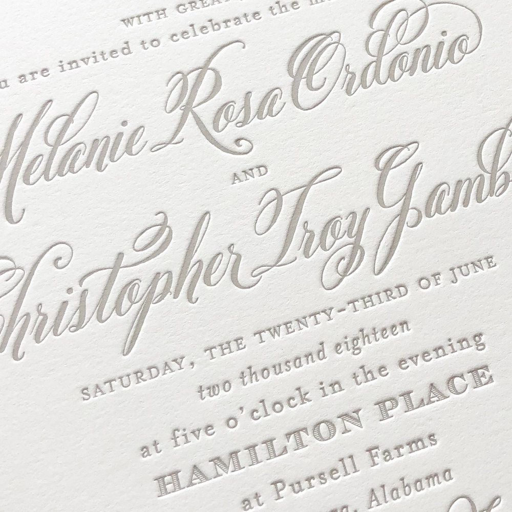 A sample of Letterpress Printing