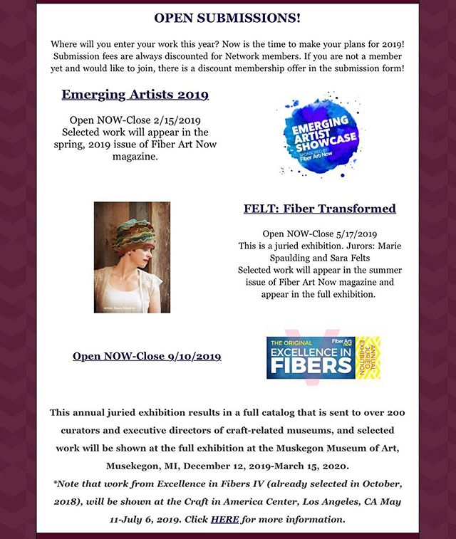 As artists, we are all looking for that break, that incredible opportunity to have our work featured. And Fiber Art Now magazine presents you with three incredible opportunities in 2019 so don't miss out! #callforartists #callforsubmissions #callforentries #artcall #feltersofinstagram #fiberartist