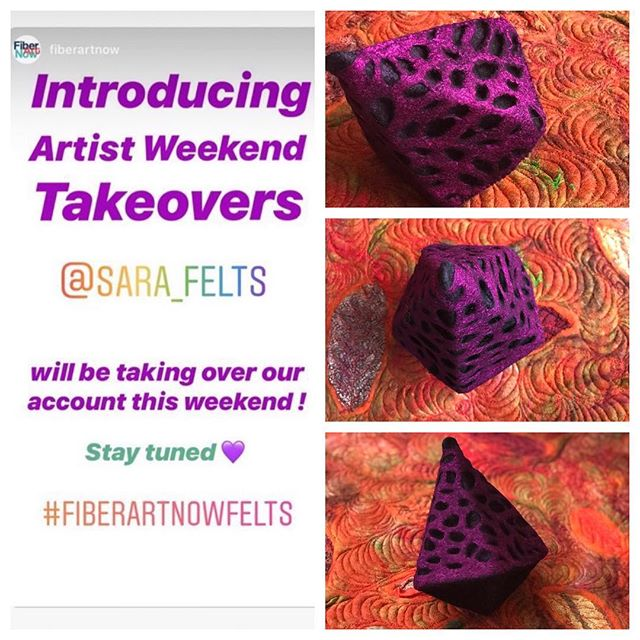 Guess what I'm going to be doing this weekend?? Fiber Art Now Magazine has given me an amazing opportunity to share my work with their fan base. FAN is going to be hosting 'Artist Weekend Takeovers' on a regular basis so follow along on @fiberartnow and @fiberartnowfelts, it could be your turn next! #fiberartnowfelts #fiberartnow #feltersofinstagram #felting #felted #feltart #feltedwool #feltedwoolart #woolfelt #handmade #handmadefelt #fiberart #fiberartist #wetfelted #nunofelting #nunofelt #nunofelted #vancouverdesigner #feltdesigner  #canadianartist #madeinvancouver #fiberartsculpture #textilesculpture #handdyed #sculptural