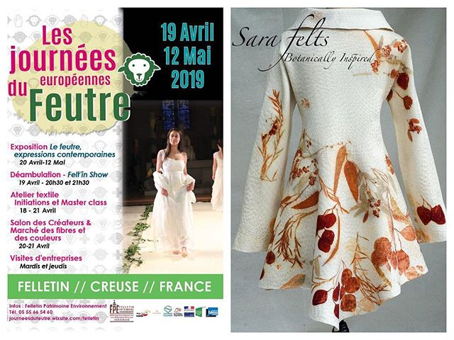 I'm so excited to be participating in the European Felt Days exhibition in Felletin, France. I get the opportunity to show of my nuno felted, eco printed coat in this breathtaking exhibition space. 2017 exhibition image courtesy of Felletin Patrimoine Environnement. #vancouverdesigner #handmadeincanada #wearableart #felletinpatrimoine #yvrartist #nunofelted #internationalexhibition #merinowool #madeinvancouver