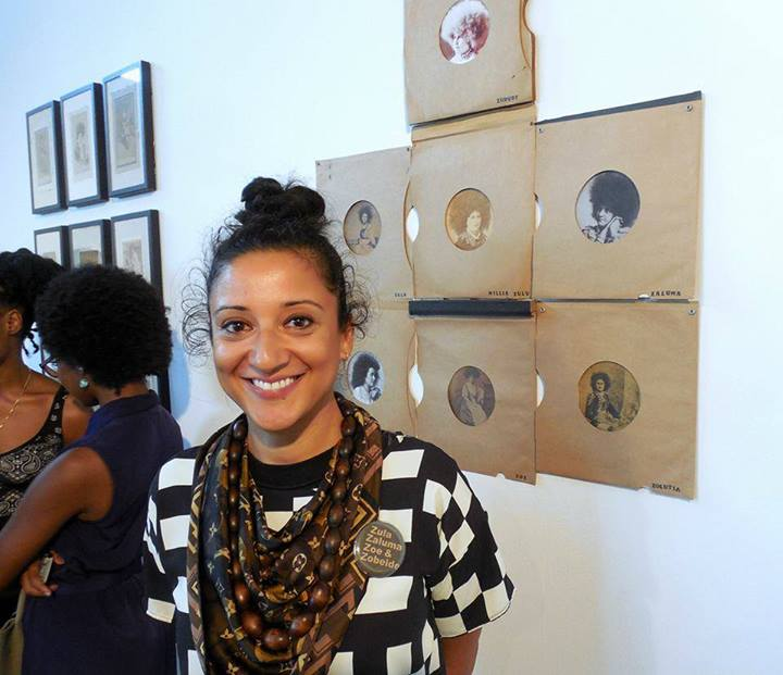 Rabéa Ballin in front of her work. (Photo taken by Sophie Asakura)