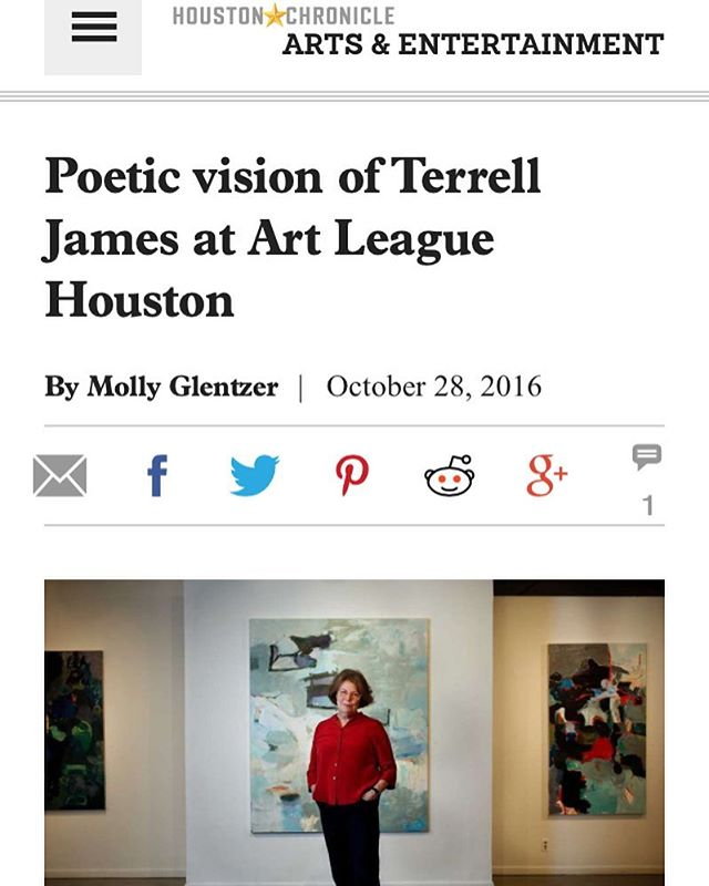 Huge thanks to Molly Glentzer and the Houston Chronicle for this great feature on Terrell James, ALH's 2016 Texas Artist of the Year!! Terrell's exhibition, HOVER, will be on view in our main gallery until November 19, 2016!