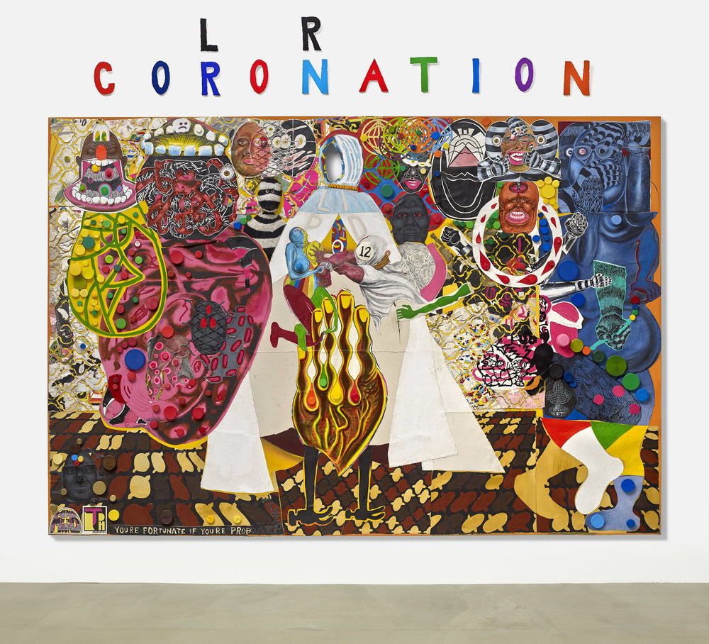 Trenton Doyle Hancock, Coloration Coronation, 2016, acrylic and mixed media on canvas, 90 x 132 in. Image courtesy of the Artist and James Cohan, New York