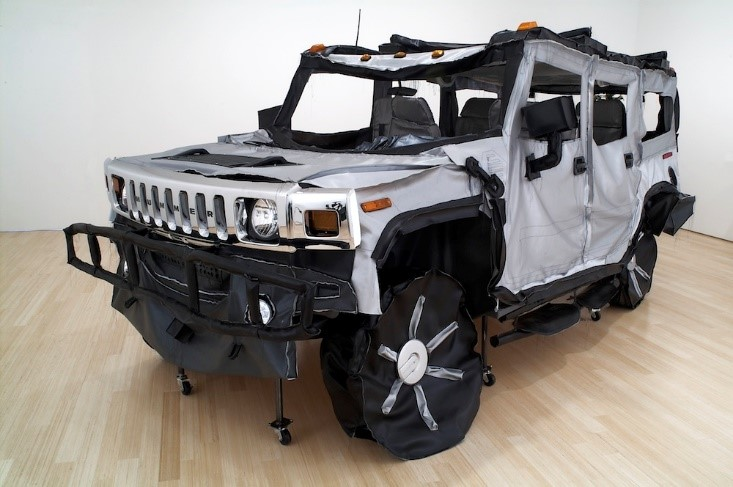 Margarita Cabrera,  Hummer H2 , 2006, vinyl, wood, copper wire, thread and car parts, 84 x 180 x 96 inches,  Photo Courtesy of the Artist