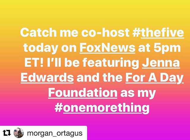 Do you watch @foxnews ? Tune in around 5:45 ET for a mention about For a Day by recurring guest host @morgan_ortagus! Thank you, Morgan, for helping get the word out during Childhood Cancer Awareness Month!