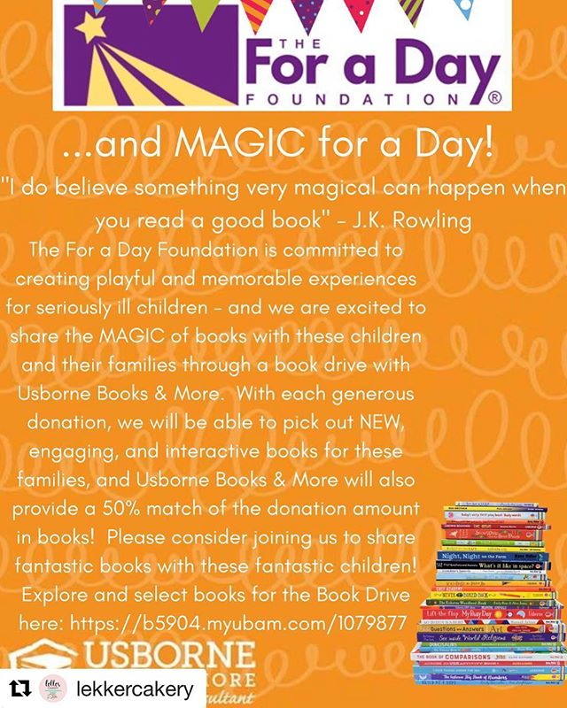 #ForaDayHouston is collecting books! See the photo for details. Your purchases will be matched by the company = MORE BOOKS! link is in the photo