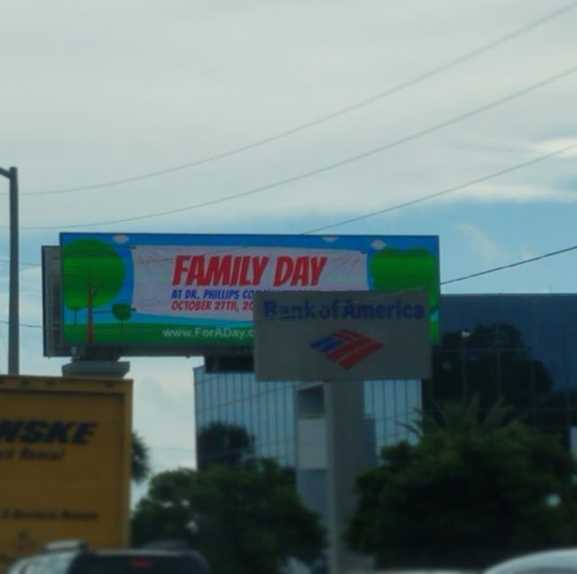 So this is cool....we have a billboard in the Dr. Phillips community of Orlando- for our FAMILY DAY fun event tomorrow, Saturday, October 27th! We'll be in the community park from 11am-3pm. Admission is free; some activities will require a ticket (we are trying to raise funds to bring hope and happiness to area pediatric cancer patients)...we'll have food trucks and @missamericafl ! Foraday.org/familyday