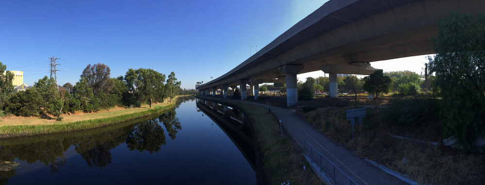 Current view of Moonee Ponds Creek from Arden Street.