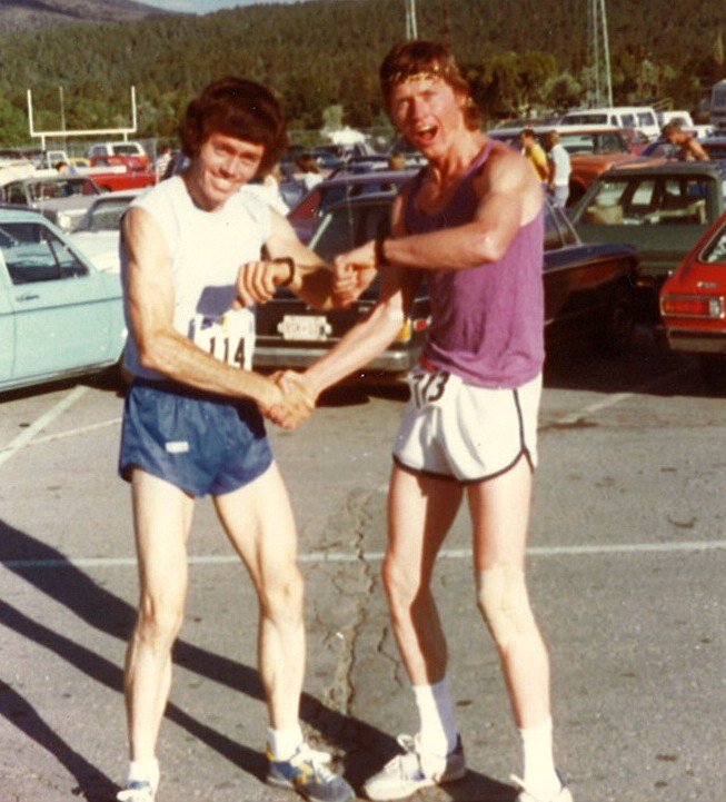 My dad, left, and his brother having FUN! running together...back in the day!
