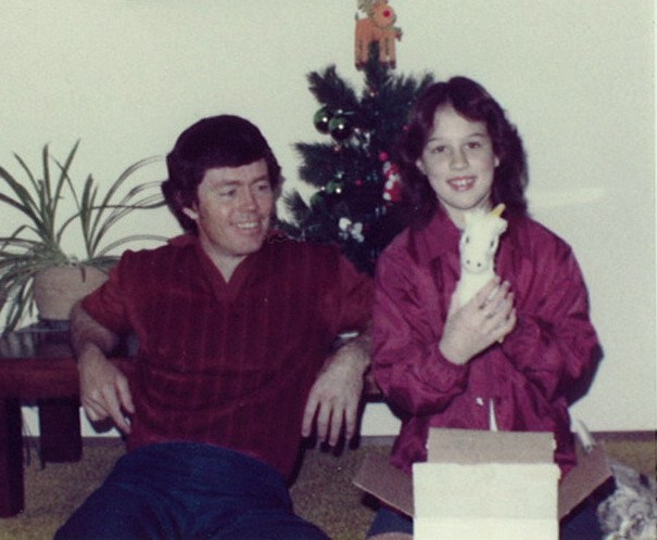 Me and my Dad at Christmas sometime in the 70s, early 80s?