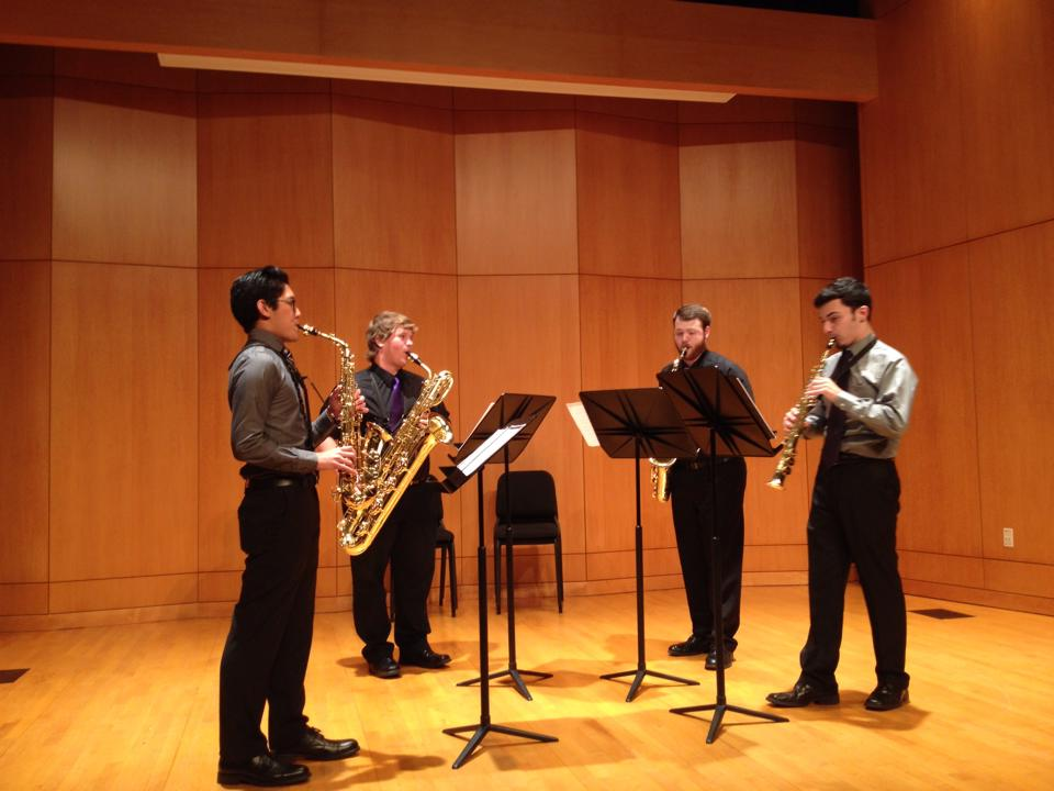 Velirium Quartet sound checks before the Studio Chamber Recital