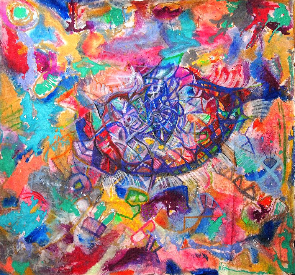 """TIGER EYE PORTAL""   62 x 69 inches (custom)  Acrylic & Mixed Media on Raw, Un-stretched Canvas"