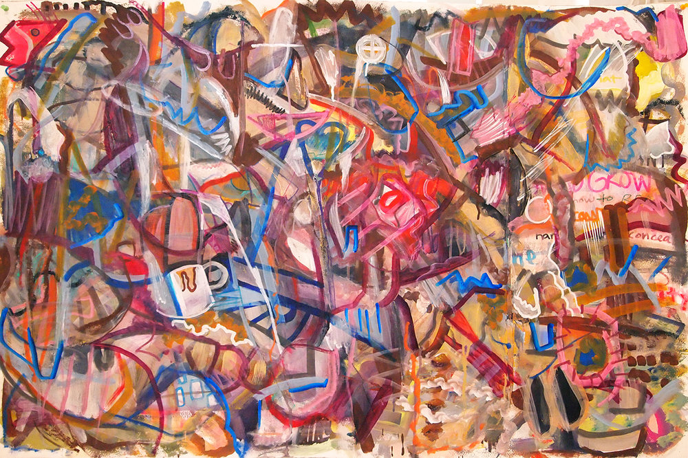 """""""TIP-DIPPIN TEA""""   30 x 44 inches  Acrylic & Mixed Media & Collage on Paper"""