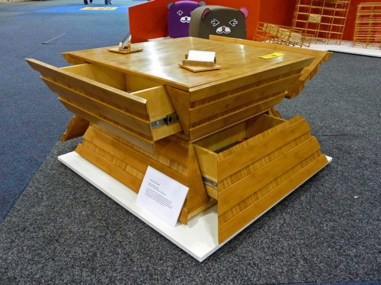 Squash Coffee Table with drawers open.