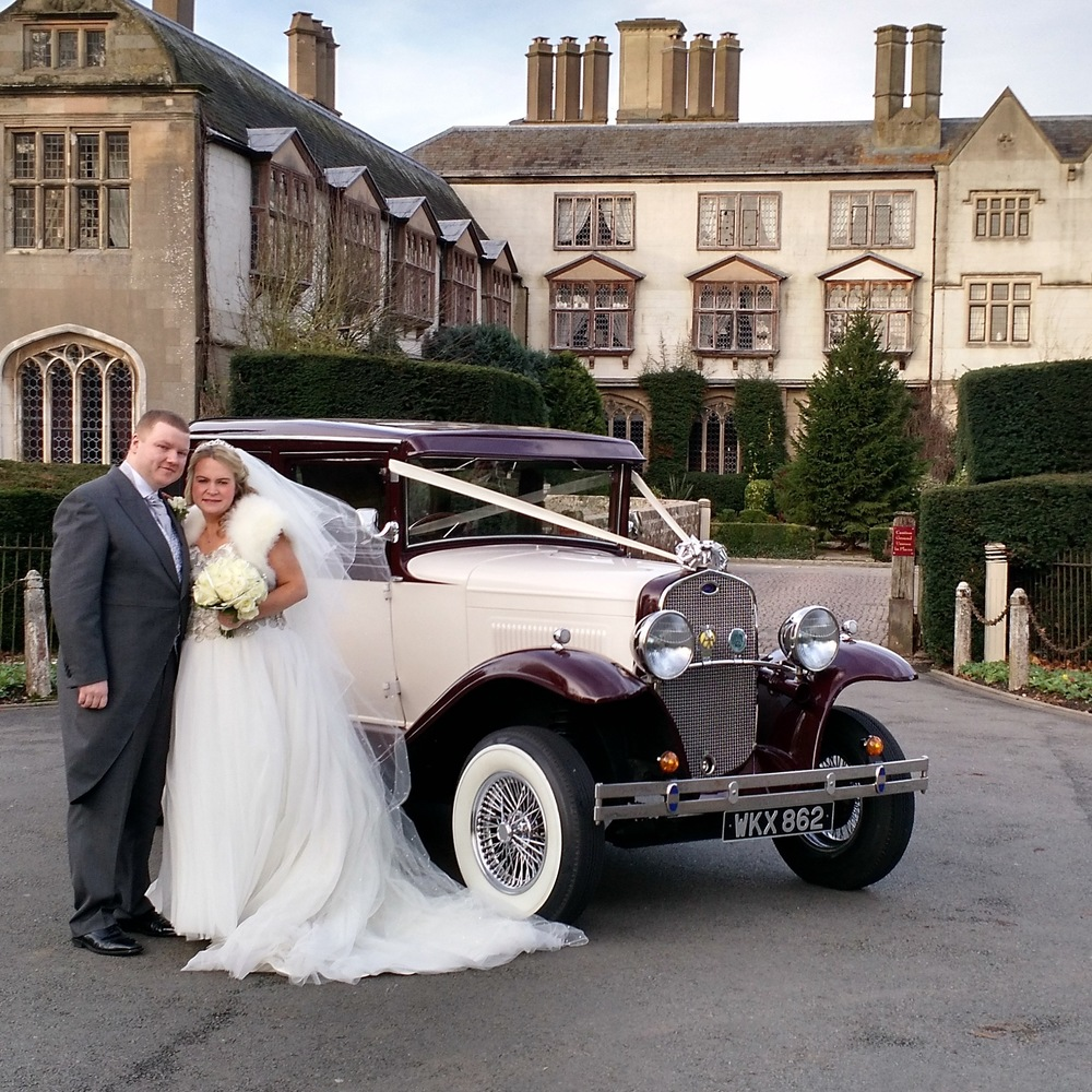 Stacey and Kevin posing for photos at out favourite location in front of the splendid  Coombe Abbey.  It was our pleasure to provide our cars for the final wedding of 2015 at such a wonderful setting. Our best wishes to the Stacey and Kevin for their future together.