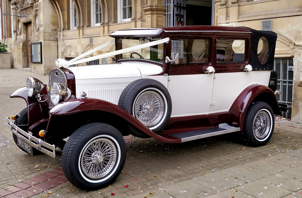 Our Car - The Badsworth Landaulette is ideal for weddings in all seasons. With the hood in place it performs as a warm saloon but in a couple of seconds the hood can be lowered should you wish to enjoy the luxury of 'open top' motoring in comfort. We like to make a feature of the car at Civil Ceremonies which includes a short trip for Bride and Groom following the ceremony - relax together for a few moments!