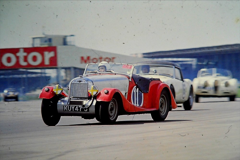 "Enjoying ""proper"" racing at Silverstone, mid 60's."