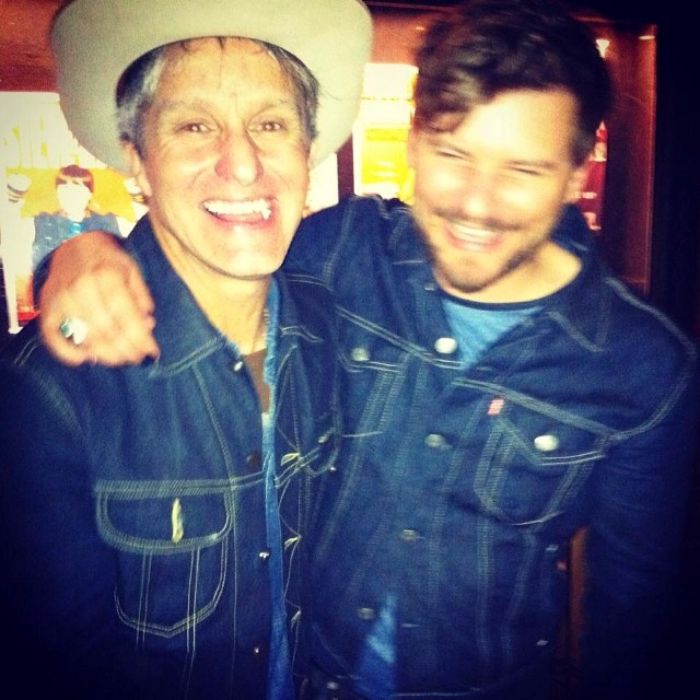 Post show love fest. Patrick and @stevepoltz showing off the denim and smiles thanks to uber playwright @megzeppelinn Megan Breen.