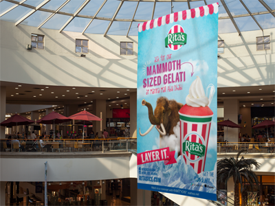 rita's -mammoth sized gelati  in line with the exhibition of a 15,000 year old woolly mammoth in marina mall in abu dhabi, we developed the in mall campaign 'mammoth sized gelati' for rita's.