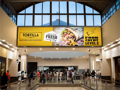 tortilla -food court level 2   for the launch of the first tortilla in the uae, we developed all the opening visuals for the in mall campaign in festival city in dubai.