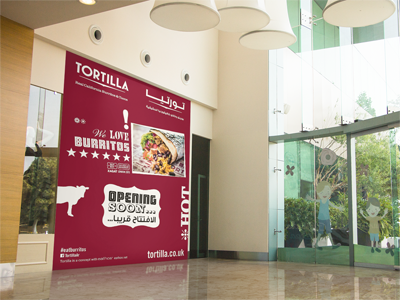 tortilla -opening soo  n  for the launch of the first tortilla in the uae, we created the opening soon visual for the store hoarding in festival city in dubai.