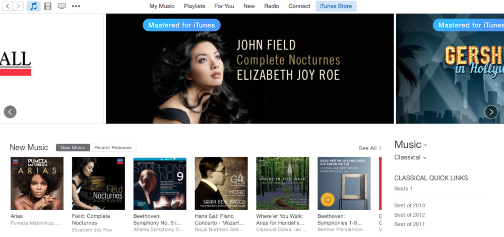 Featured on iTunes classical homepage