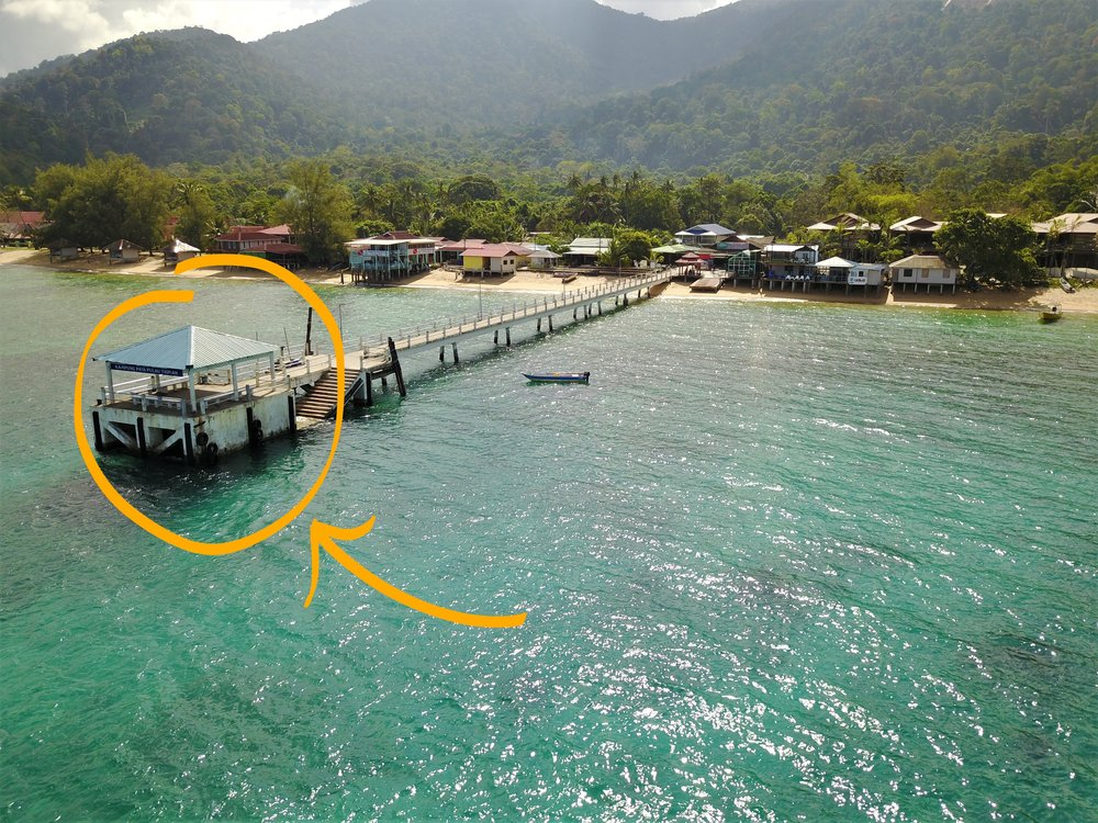 Pictured above, PAYA JETTY - Exit the ferry here. The resort speedboat shuttle will pick you up at the end of the jetty at the scheduled shuttle time.