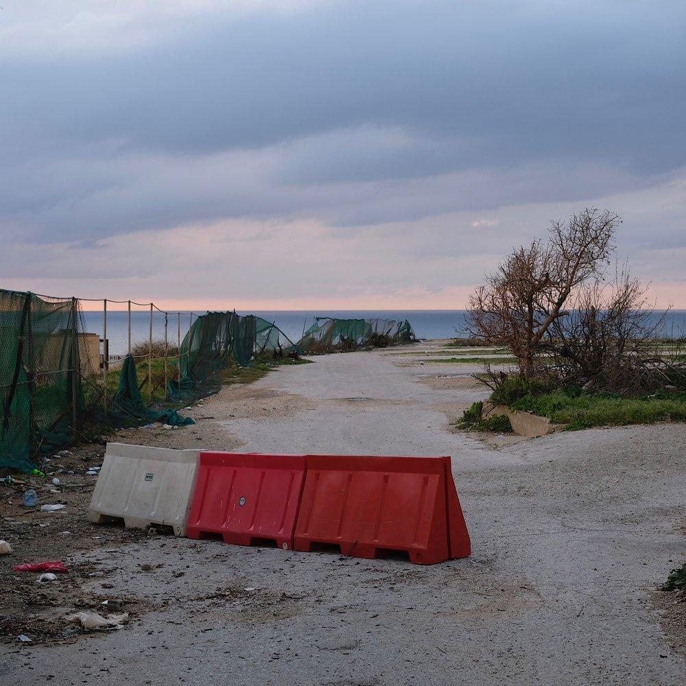Displaced road block.